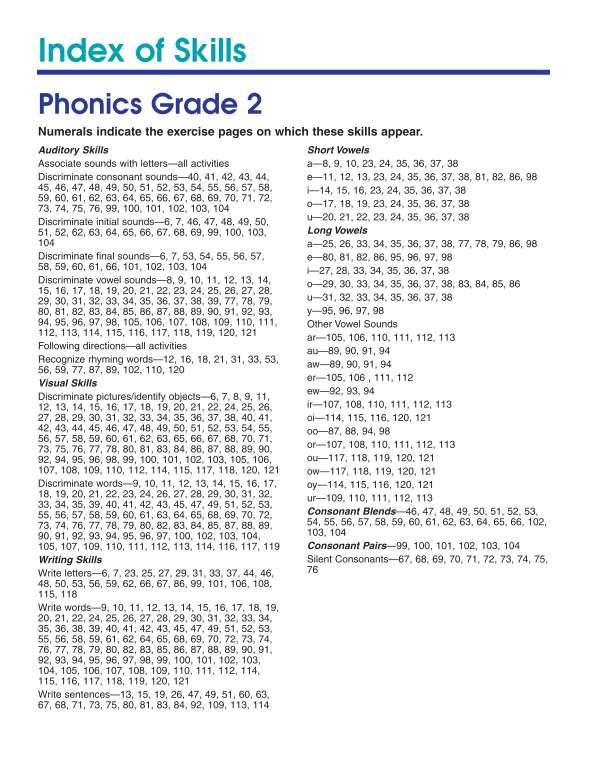 Spectrum Phonics Workbook, Grade 2