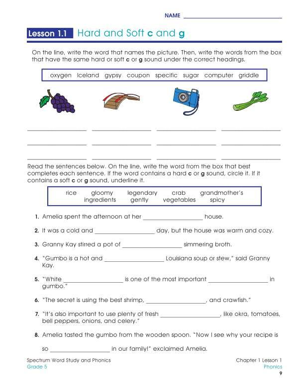 Spectrum Word Study and Phonics Workbook, Grade 5