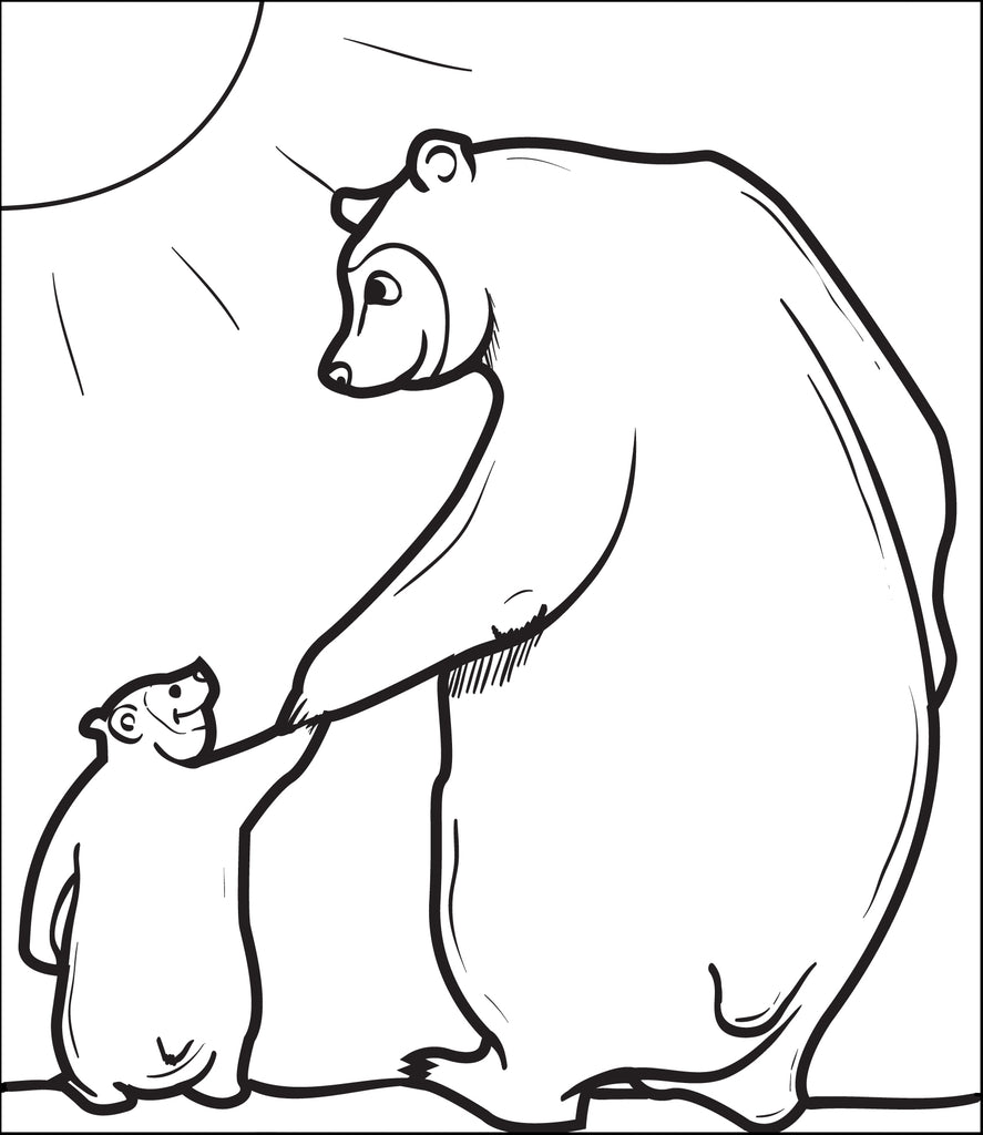 Papa Bear With Little Bear Coloring Page