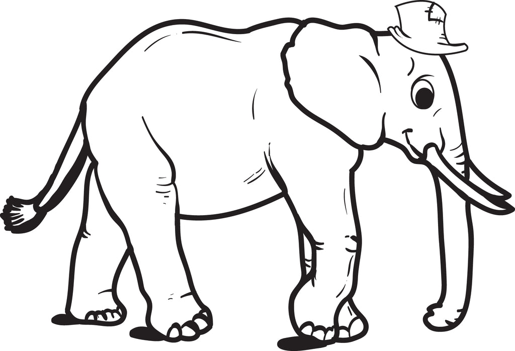 Elephant Wearing a Hat Coloring Page