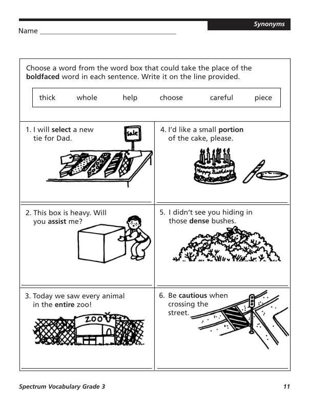 Spectrum Vocabulary Workbook, Grade 3