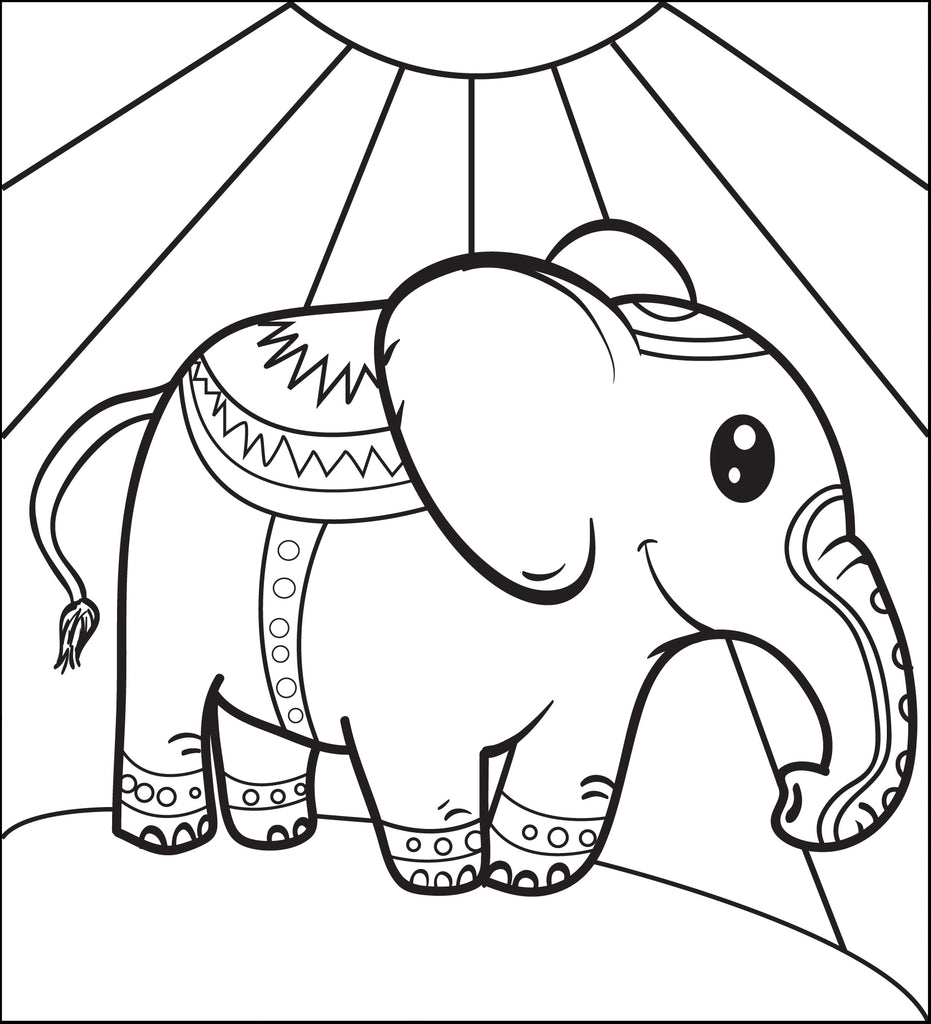 Circus Elephant Coloring Page #1