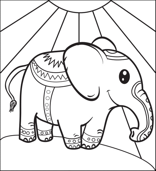 Free, Printable Circus Elephant Coloring Page for Kids