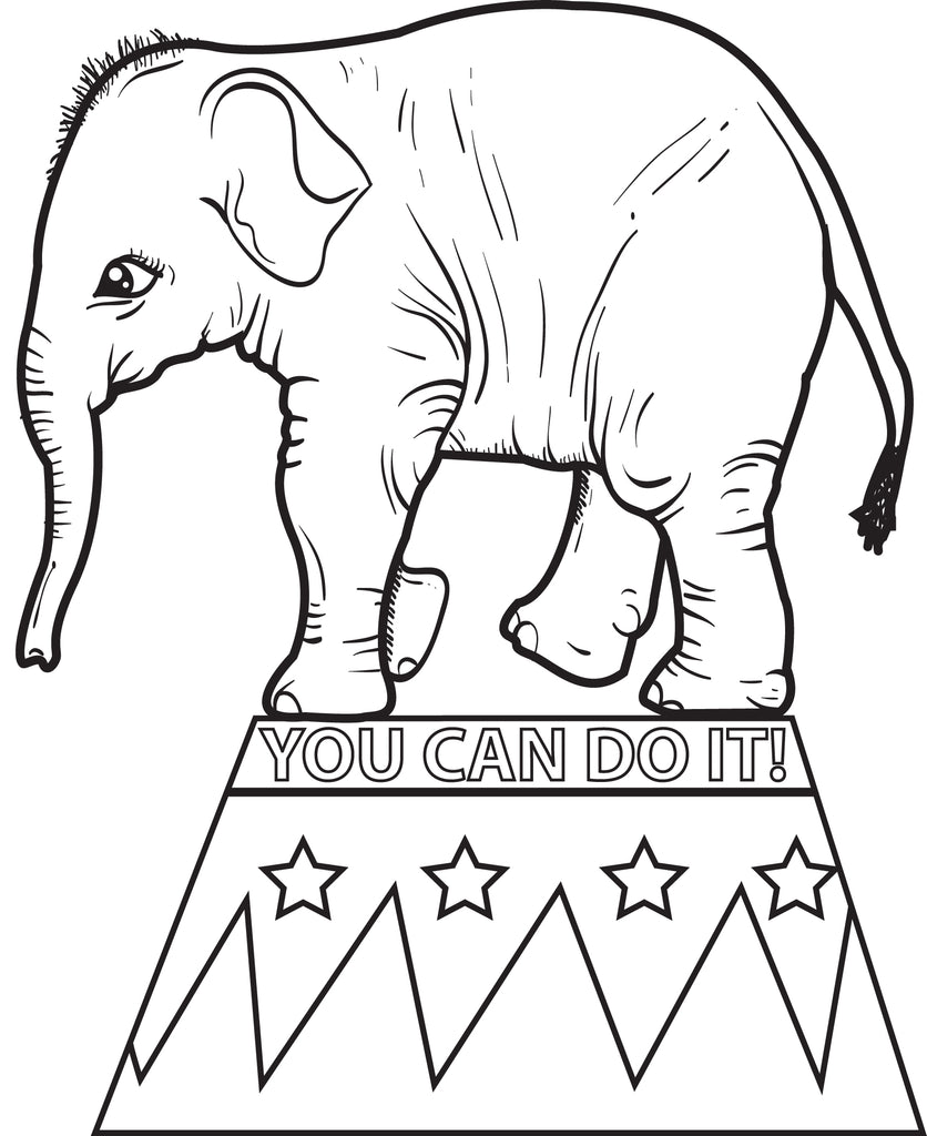 FREE Printable Circus Elephant Coloring Page for Kids #2