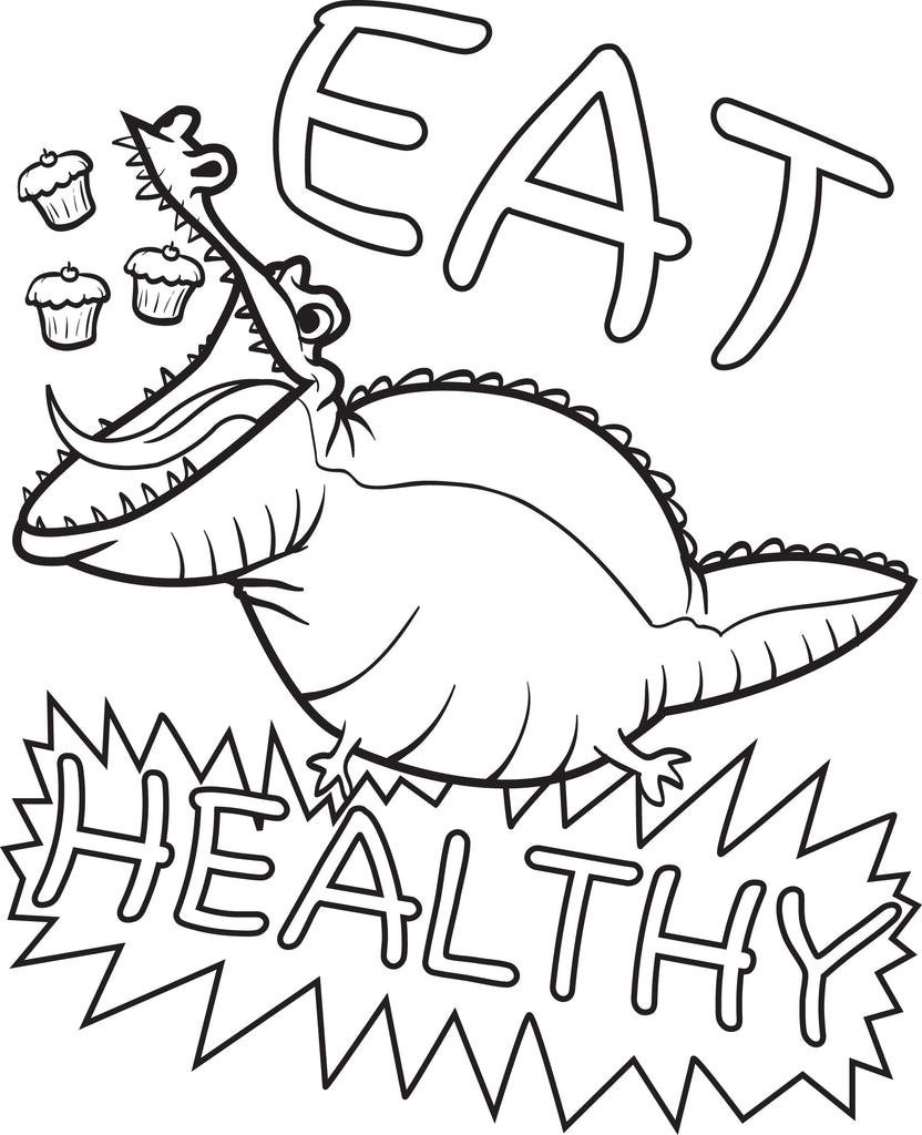 Eat Healthy Alligator Coloring Page