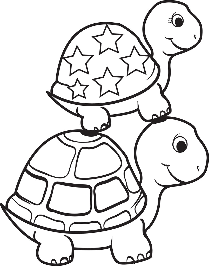 Printable Turtle On Top Of A Turtle Coloring Page For Kids Supplyme