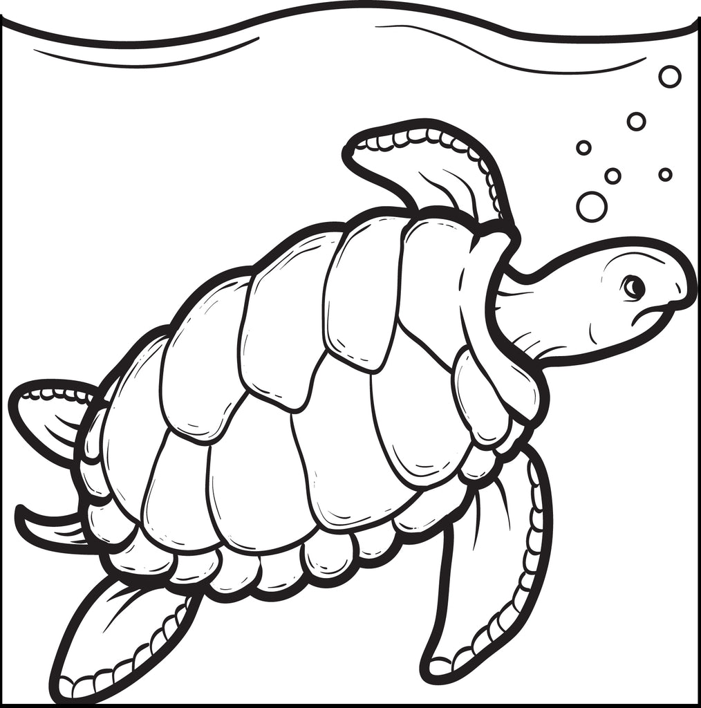 Printable Swimming Turtle Coloring Page for Kids - SupplyMe