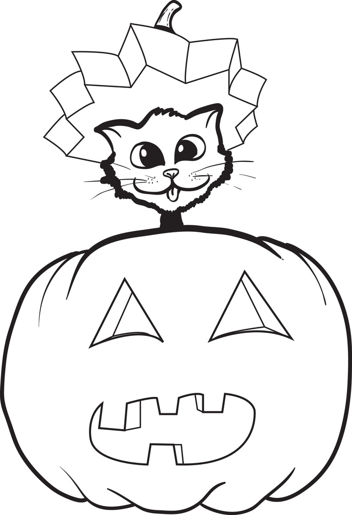 FREE Printable Halloween Cat and Pumpkin Coloring Page for Kids