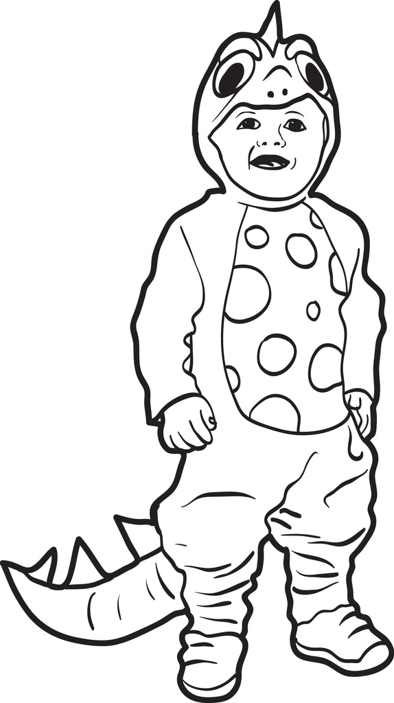 Printable Halloween Coloring Page Of A Boy In A Dinosaur Costume Supplyme