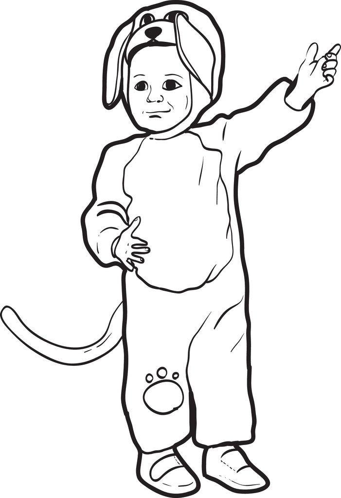 Puppy Dog Halloween Costume Coloring Page