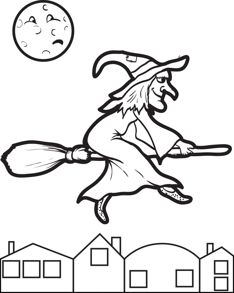 witches on broomsticks coloring pages - photo#4