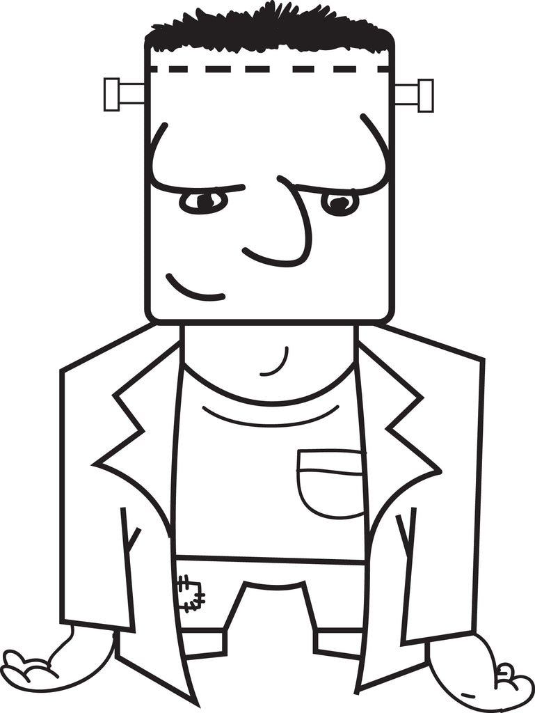 FREE Printable Frankenstein Coloring Page for Kids #4