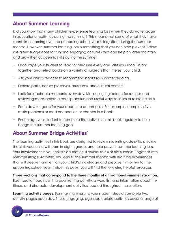 Summer Bridge Activities® Workbook, Grades 7-8