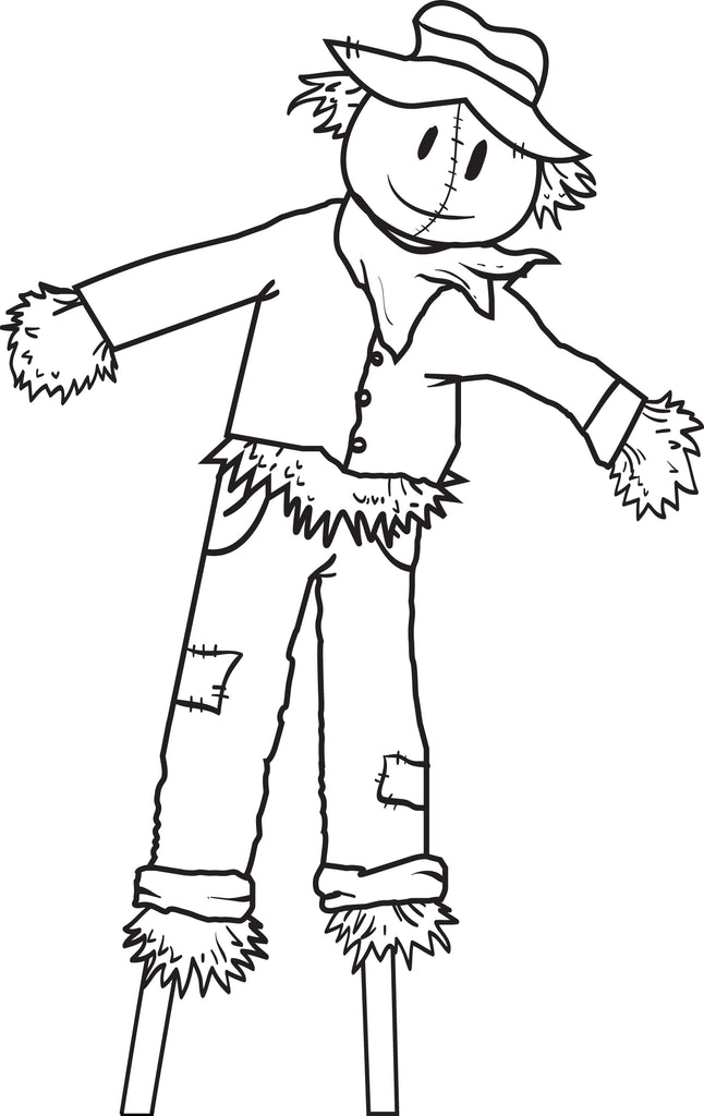 Free printable scarecrow coloring page for kids 5 supplyme for Printable scarecrow coloring pages
