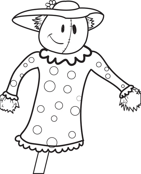 FREE Printable Scarecrow Coloring Page for Kids #6 - SupplyMe