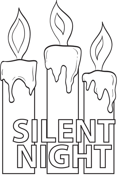 FREE Printable Silent Night Christmas Candles Coloring