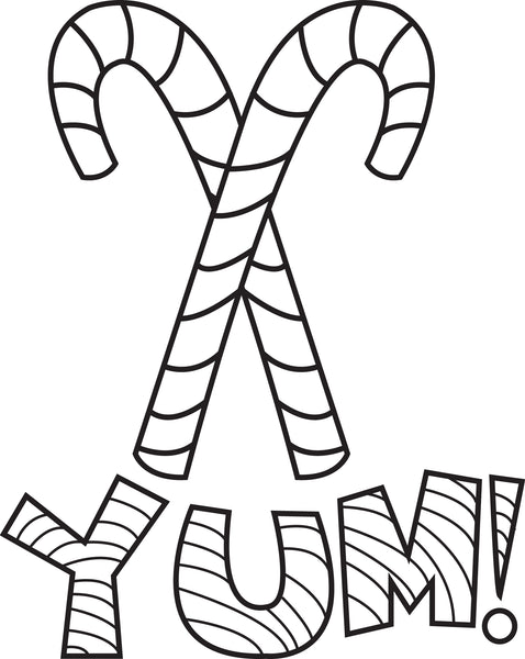 Printable Candy Canes Coloring Page for Kids #2 - SupplyMe