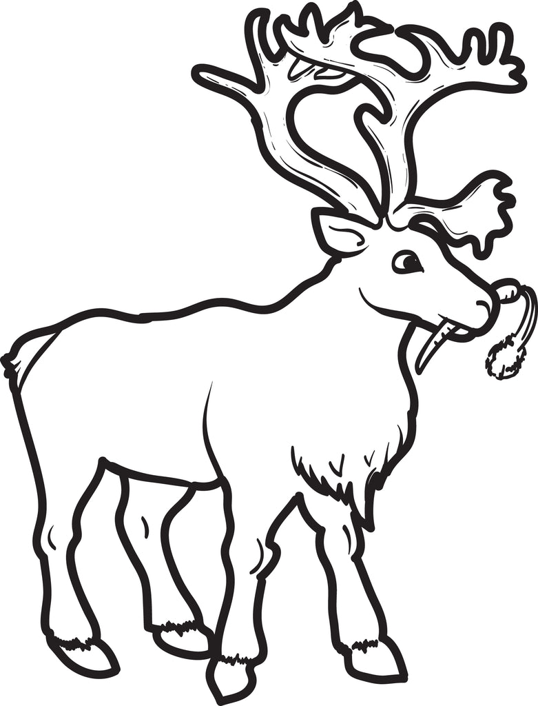 FREE Printable Reindeer Coloring Page for Kids #2 - SupplyMe