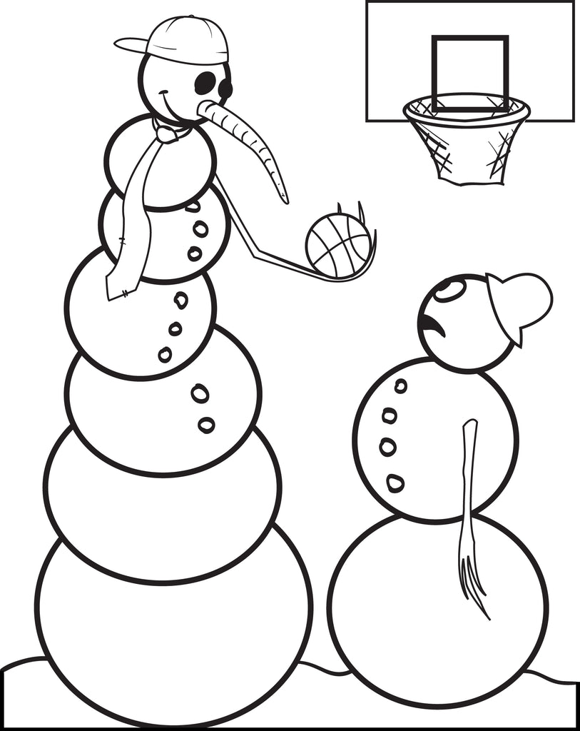 FREE Printable Snowman Playing Basketball Coloring Page