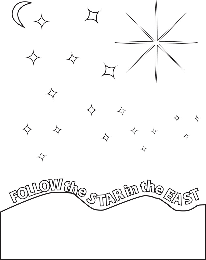 Follow The Star Printable Birth Of Jesus Coloring Page For Kids