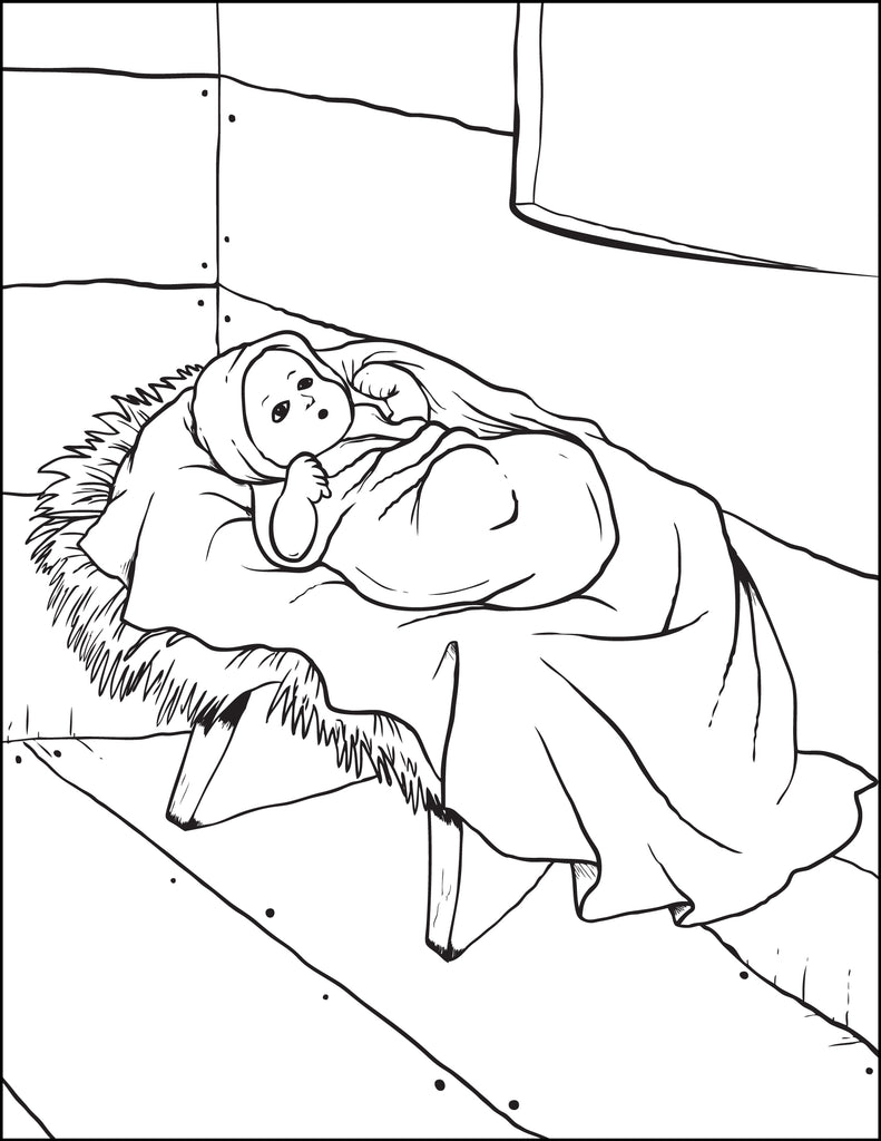 FREE Printable Baby Jesus In the Manger Christmas Coloring Page for Kids