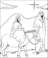 FREE Printable Mary and Joseph Christmas Coloring Page for Kids