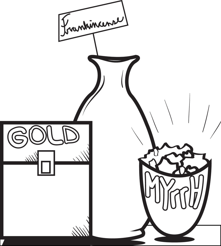 FREE Printable Gold, Frankincense, and Myrrh Coloring Page for Kids