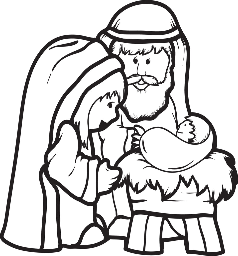 - Printable Mary, Joseph, & Baby Jesus Coloring Page For Kids #2