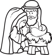 FREE Printable Mary, Joseph, & Baby Jesus Coloring Page for Kids