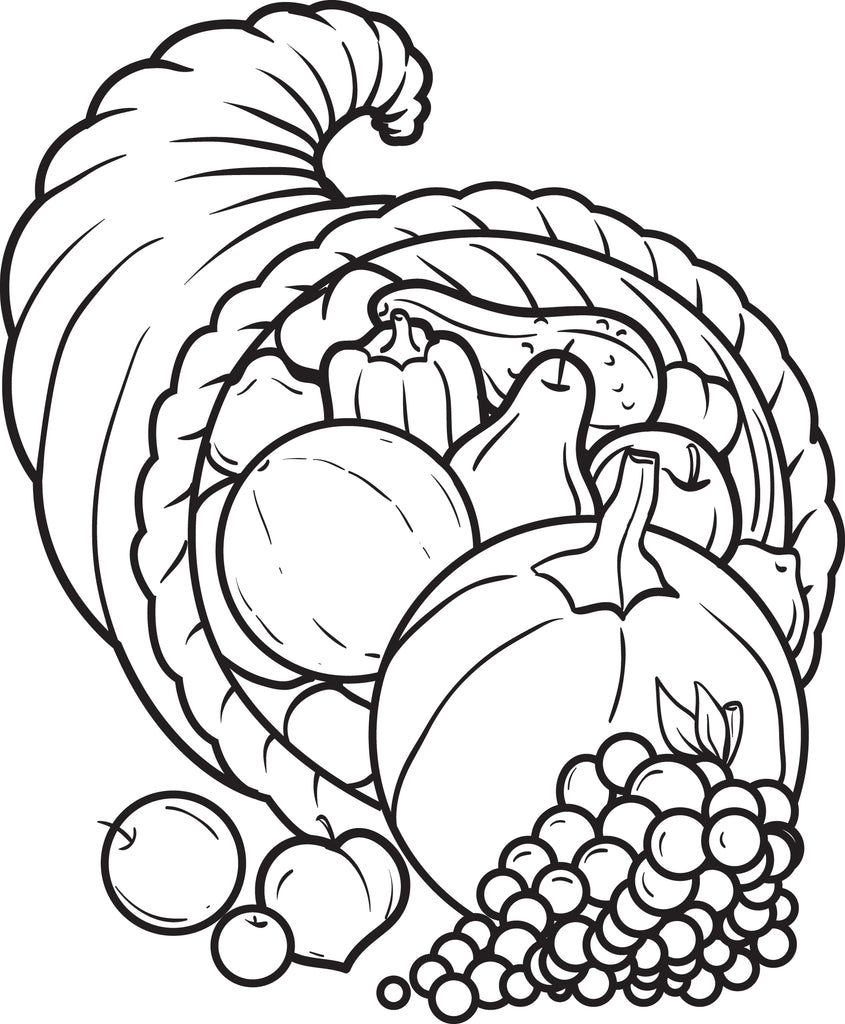 graphic regarding Cornucopia Coloring Pages Printable called No cost Printable Cornucopia Coloring Website page For Young children