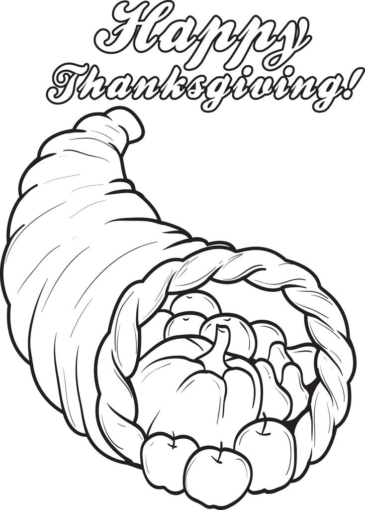 Printable Cornucopia Thanksgiving Coloring Page For Kids #3 – SupplyMe