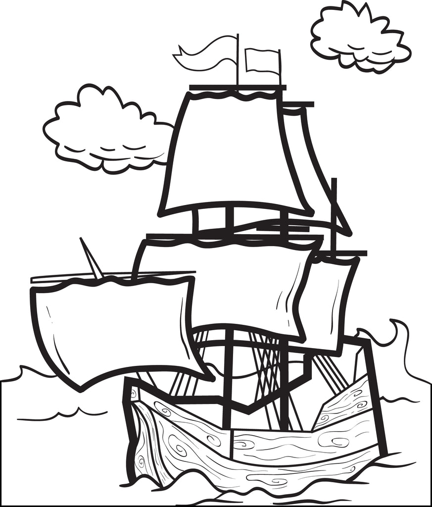 FREE Printable Mayflower Coloring Page for Kids #4 – SupplyMe