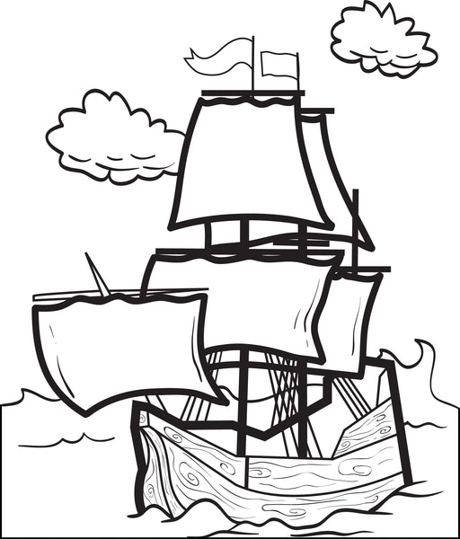 FREE Printable Mayflower Coloring Page for Kids #4