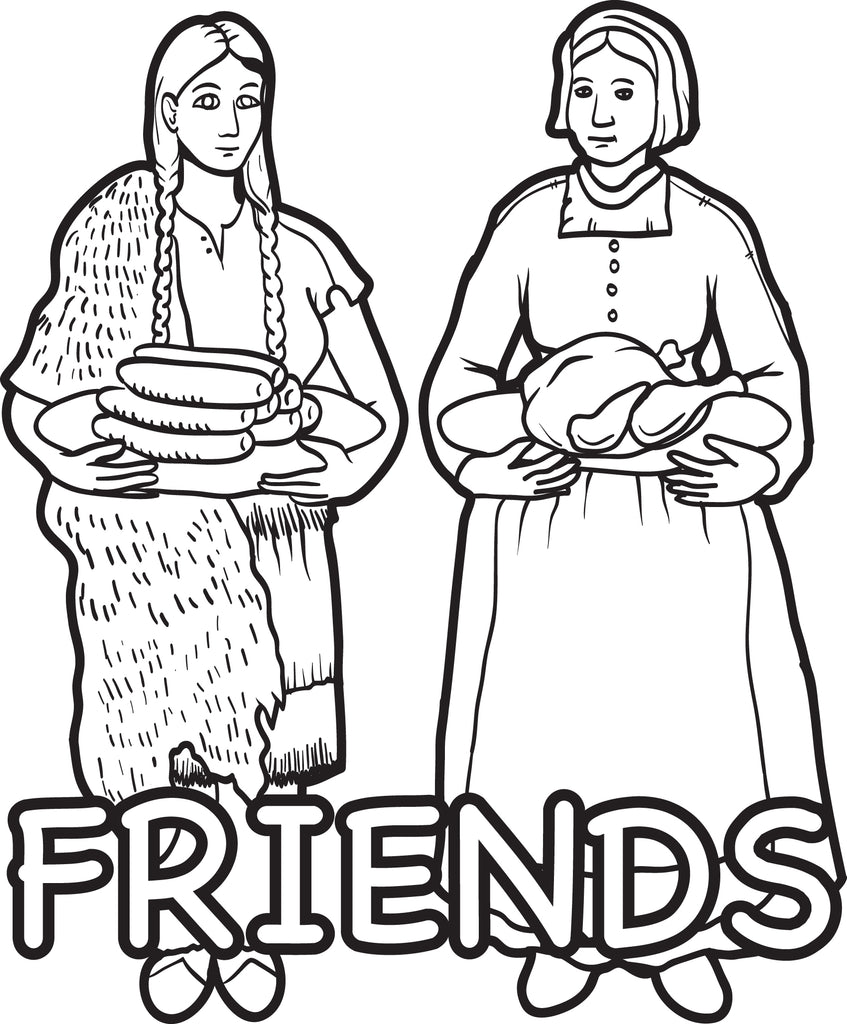 Printable Pilgrim And Indian Coloring Page For Kids 4 Supplyme