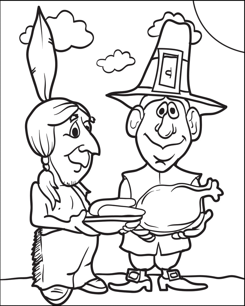 FREE Printable Pilgrim and Indian Coloring Page for Kids #5 – SupplyMe