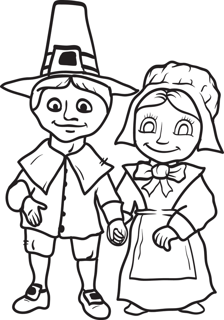 FREE Printable Pilgrim Coloring Page for Kids #6 - SupplyMe