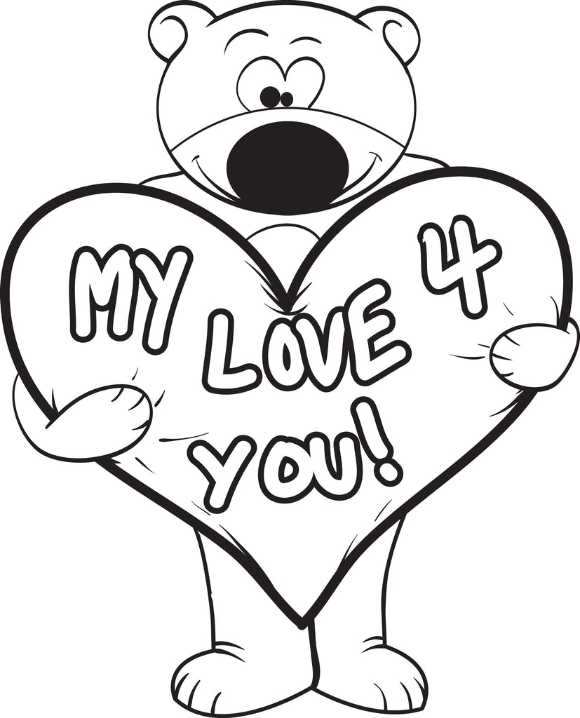 - Printable Valentine's Day Teddy Bear Coloring Page For Kids #3