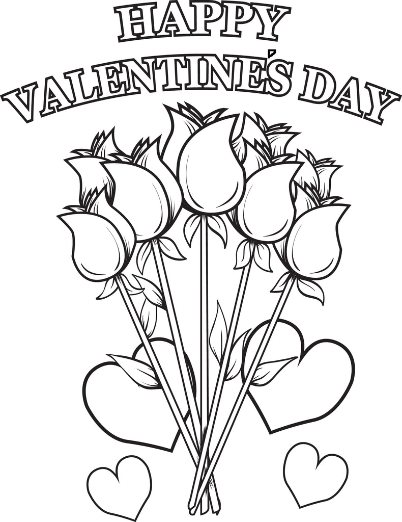 Happy Valentine's Day Flowers Coloring Page