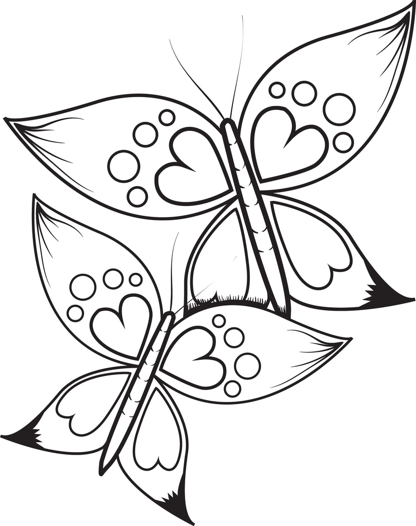 Free Printable Butterflies With Heart Wings Coloring Page for Kids