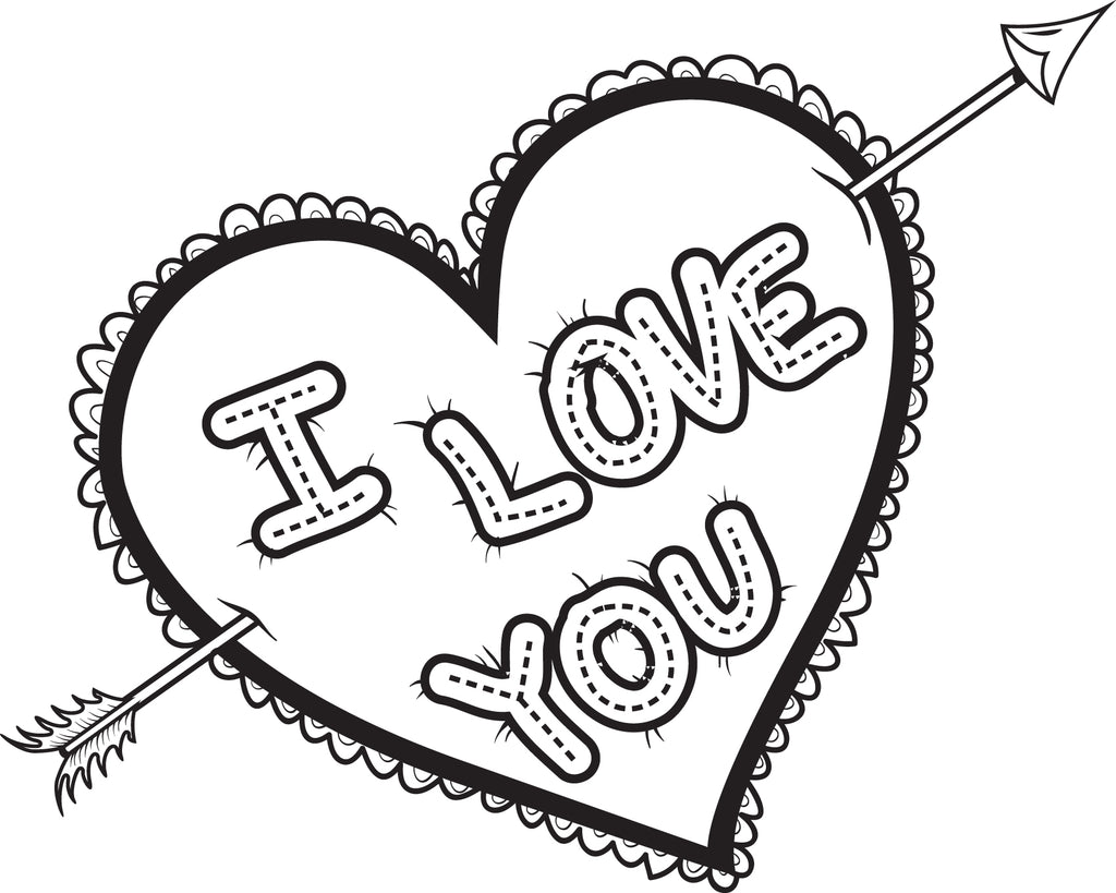 FREE Printable I Love You Heart Coloring Page For Kids