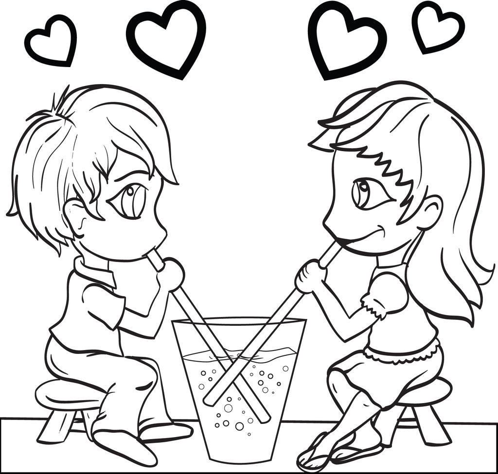 Valentine's Day Couple Coloring Page #3