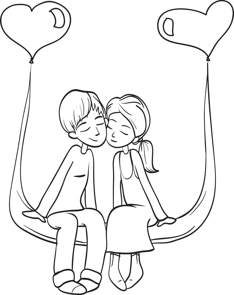 Valentines day couple coloring page 4