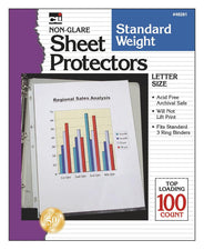 Non-Glare Sheet Protectors, 100 Per Box