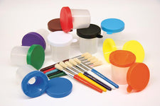 No Spill Paint Cup & Brush Set - 10 Pieces Each