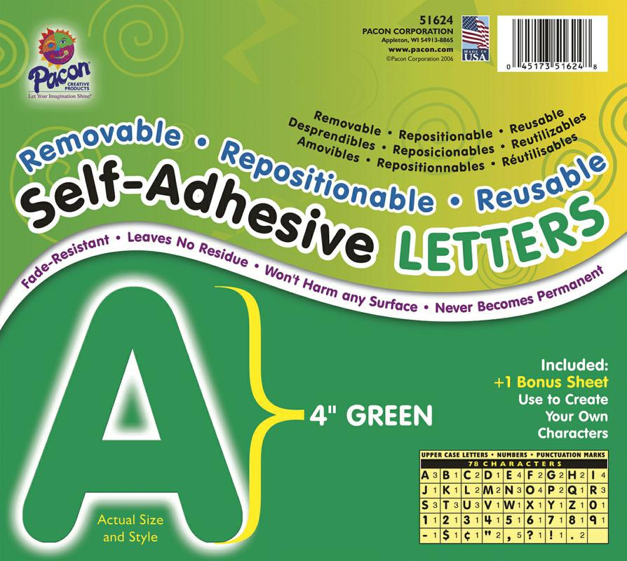 "Self-Adhesive Letters, 4"" Green"