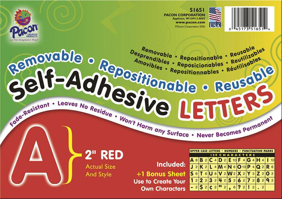 "Self-Adhesive Letters, 2"" Red"