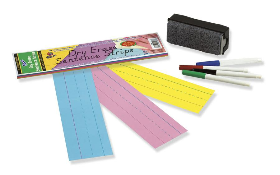 "Dry Erase Sentence Strips, 3"" x 12"" Assorted"
