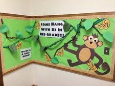 """Come Hang With Us"" Monkey-Themed Bulletin Board Idea"