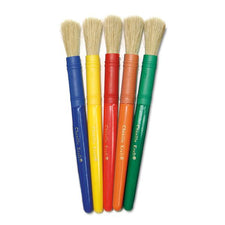 Natural Bristle Brushes - Plastic Handle - Set of 5