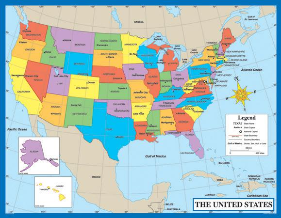 Map of the United States Chart
